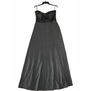 Macy's Jump Apparel Black Sequin Full Length Dress